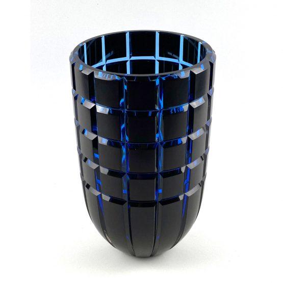 Überfang-Vase, geschliffen und poliert,kupferrubin, aquamarin front