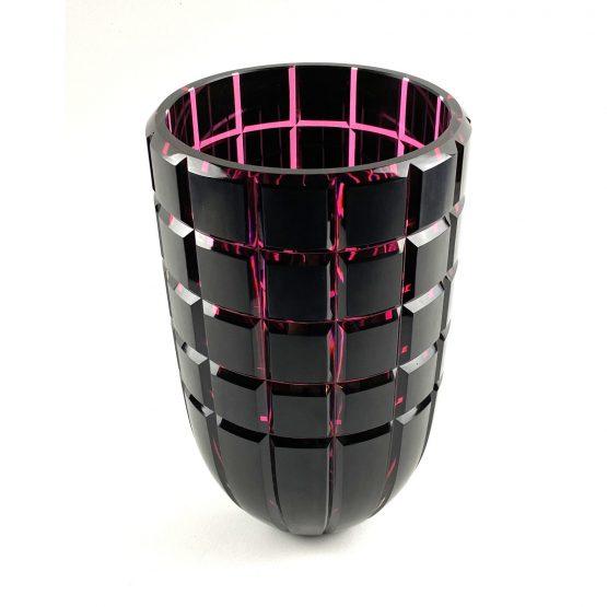 Überfang-Vase, geschliffen und poliert,kupferrubin, goldrubin front