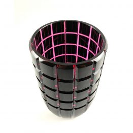Überfang-Vase, geschliffen und poliert,kupferrubin, goldrubin