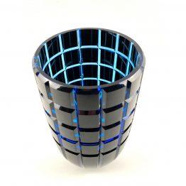 Überfang-Vase, geschliffen und poliert,kupferrubin, aquamarin schräg