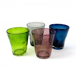 Wasserglas, mundgeblasen, durchfärbten Buntglas,hellgrün, grau, plum, indigo blue