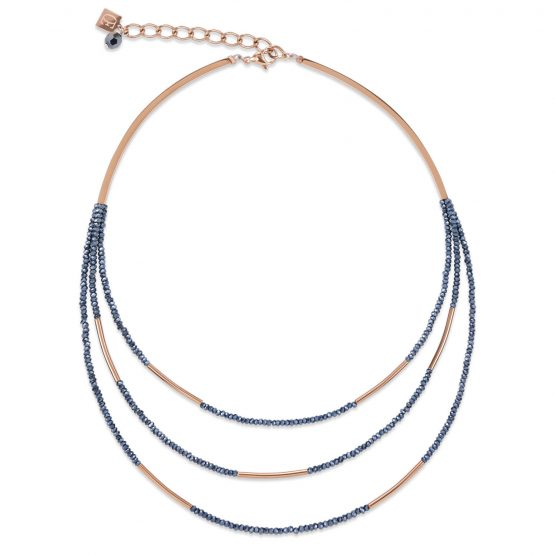 Halskette Glas geschliffen Edelstahl roségold