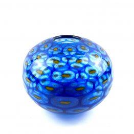 Kugelvase Pfauenauge blau-gelb