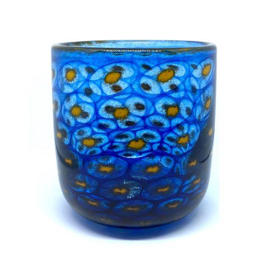 Vase, mundgeblasen und handgefertigt - Pfauenauge blau-gelb