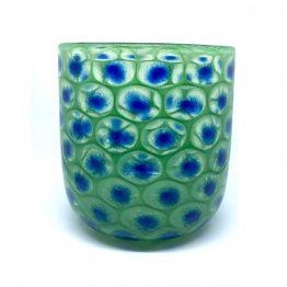 Vase, mundgeblasen und handgefertigt - Pfauenauge grün-blau