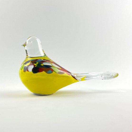 Beet-Gartenstecker Vogel hellblau gelb