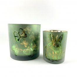 Windlicht-Set Schmetterling und Hase grün