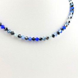 Schmuck- Ketten aus Swarovski®Kristallen schwarz-blau groß