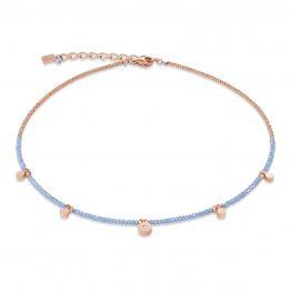 Coeur de Lion, Halskette, hellblau, Coins small, roségold