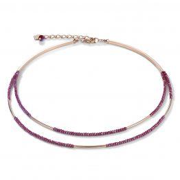 Halskette 2 reihig Wasserfall roségold, rot