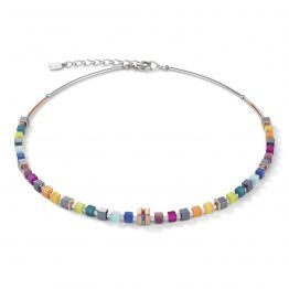 Halskette mit kleinen bunten Würfeln Edelstahl