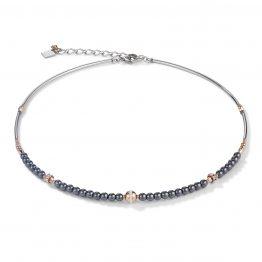 Halskette mit kleinen Kügelchen aus Hämatit und Swarovski-Kristallen in Pavé-Fassung und Edelstahl