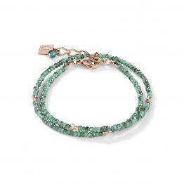 Armband 2-reihig, grün-petrol-farben, mit Swarovski-Kristallen