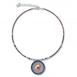 Halskette, Amulett in Blau- und Brauntönen mit Swarovski-Kristallen