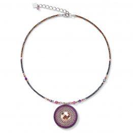 Halskette Amulett in den Beerentönen, in der Mitte geschliffener Swarovski-Kristall in rosegold