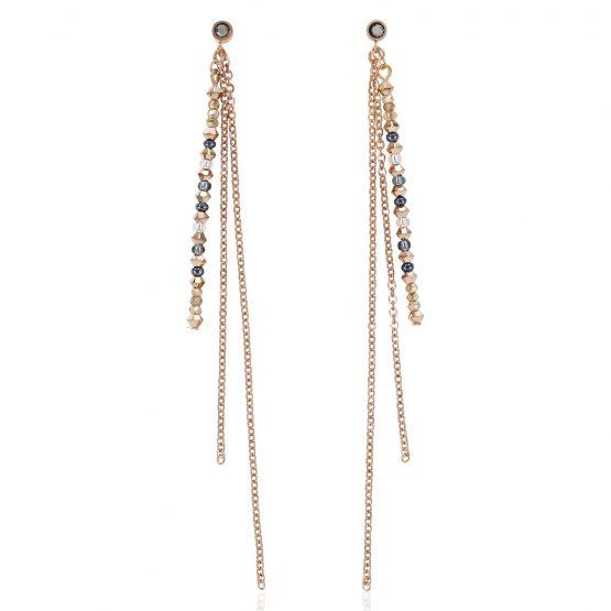 Ohrringe rosegold, mit kleinen Sternchen mit Swarovski-Kristallen in Kristall hämatit und rosegold, lang hängend 3 Stränge
