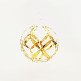 Kristallkugel mundgeblasen mit Glasöse und 24 Karat Goldmalerei
