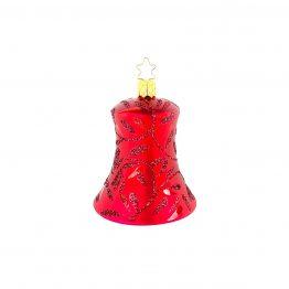 Glocke mundgeblasen rot mit glitzernden Blättern