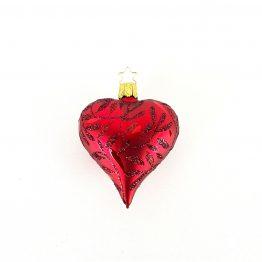 Herz zum Hängen mundgeblasen rot mit glitzernden Blättern