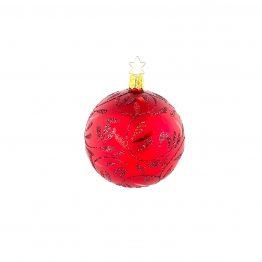 Weihnachtskugel mundgeblasen rot Blätterranke glänzend