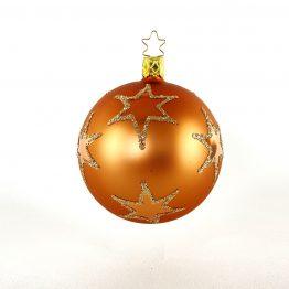 Christbaumkugel mundgeblasen, braun-kupfer mit glitzernden Sternen