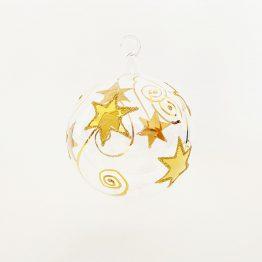 mundgeblasene Kristallkugel zum Hängen mit Glasöse, 24 Karatgoldmalerei
