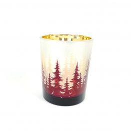 Teelichtglas Baumlandschaft Burgund-silber