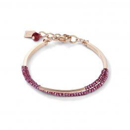 Armband zweireihig roségold rot