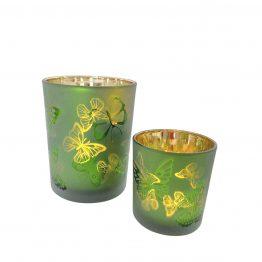 Windlicht Set grün Schmetterlinge