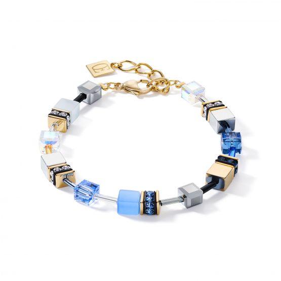 Armband gold blau Würfel