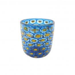 Pfauenauge blau-gelb Vase
