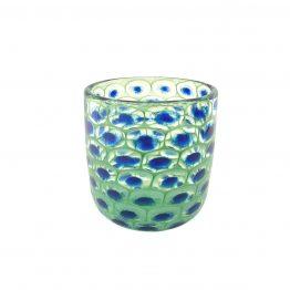 Vase Pfauenauge grün-blau