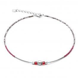 Halskette rot silber